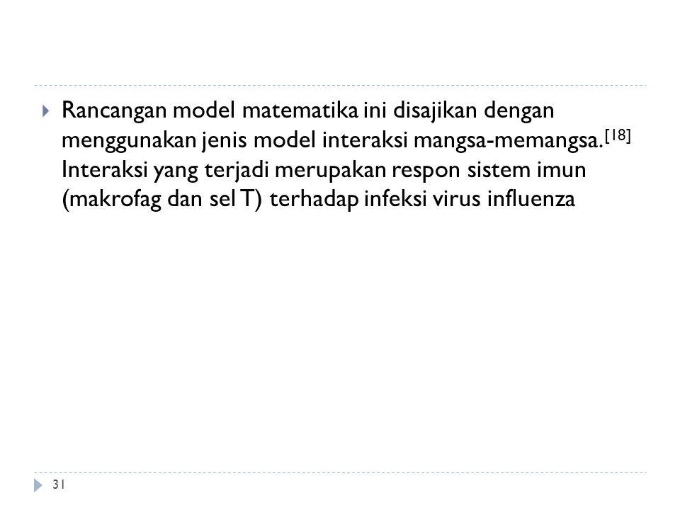 Rancangan model matematika ini disajikan dengan menggunakan jenis model interaksi mangsa-memangsa.[18] Interaksi yang terjadi merupakan respon sistem imun (makrofag dan sel T) terhadap infeksi virus influenza